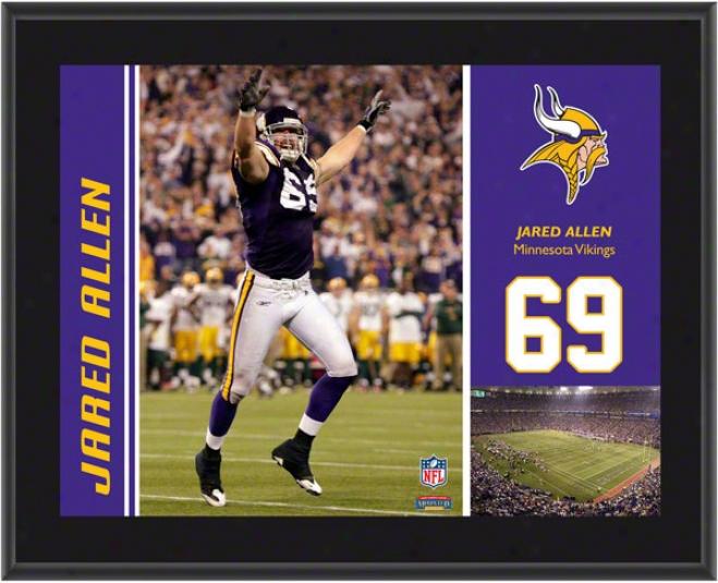 Jarod Allen Plaque  Details: Minnesota Vikings, Sublimated, 10x13, Nfl Plaque