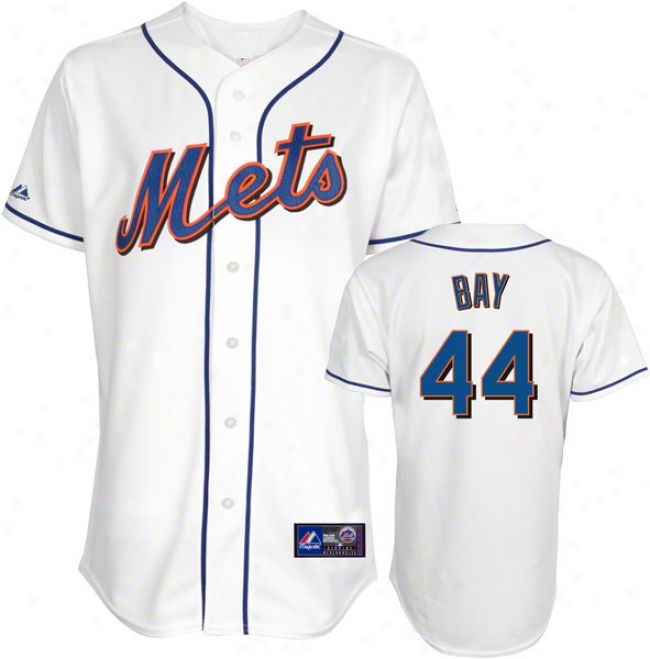 Jason Bay Jersey: Adult Maajestic Close White Replica #44 New York Mets Jersey