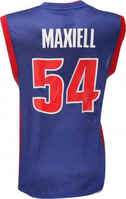 Jason Maxiell Jersey: Adidas Blue Replica #54 Detroit Pistons Jersey
