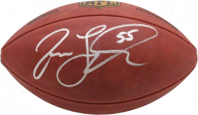 Jason Taylor Autographed Football  Derails: Football With #55 Inscription