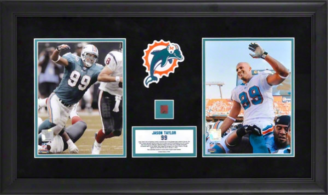 Jason Taylor Dual Framed 8x10 Photographs  Details: Miami Dolphins, Retirement, With Game Used Football, Limited Edition Of 500