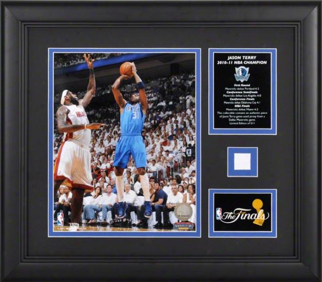 Jason Terry Framrd Photkgraph  Details: Dallas Mavericks, 2011 Nba Champions, 8x10 Wifh Game Used Jersey And Plate