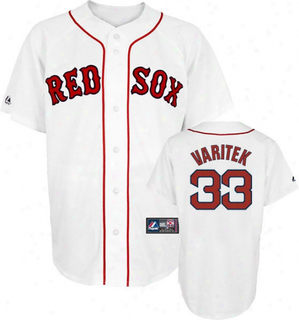 Jason Varitek Jersey: Adult Majestic Home White Relica #33 Boston Red Sox Jersey