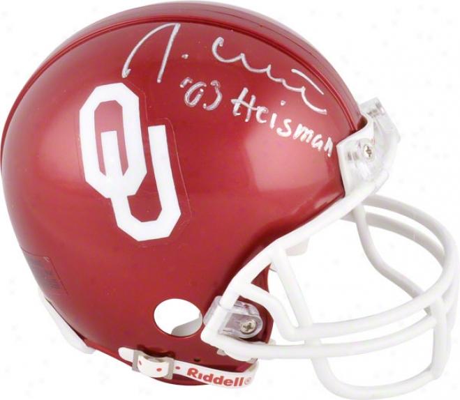 Jason White Oklahoma Sooners Autographed Mini Helmet W/ Inscriptiin '03 Heisman'