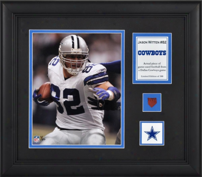 Jason Witten Framed 8x10 Photograph  Details: Dallas Cowboys, With Game Used Football Piece And Descriptive Plate
