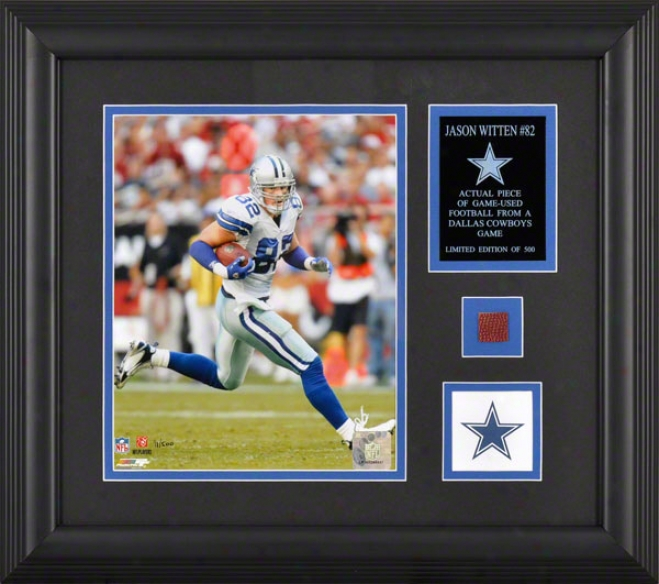 Jason Witten Framed 8x10 Photograph With Football Piece And Descriptive Plate