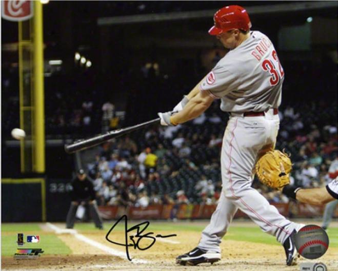 Jay Bruce Autographed Photograph  Details: Cincinnati Reds, 8x10, Horizontal ,Batting