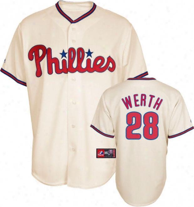 Jayson Werth Jersey: Adult Majestic Alternate Ivory Replica #28 Philadelphia Phillies Jersey