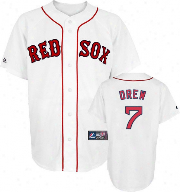 J.d. Drew Jersey: Adult Majsetic Domicile Whhite Replica #7 Boston Red Sox Jersey