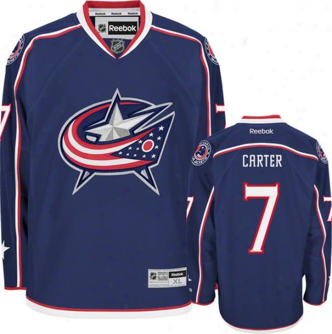 Jeff Carter Jersey: Reebko Navy #7 Columbus Dismal Jackets Premier Jersey