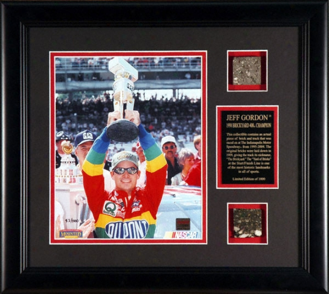 Jeff Gordon -1998 Brickyard 400- Framed 8x1 Photograph With Brick & Track