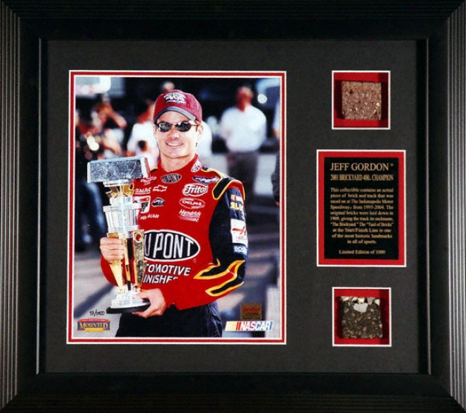 Jeff Gordon -2001 Brickyard 400- Framed 8x10 Photograph With Brick & Track