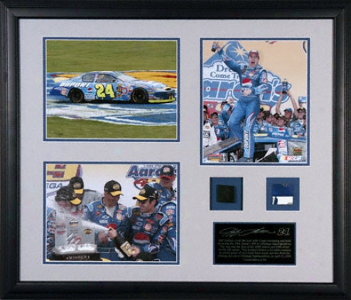 Jeff Gordon 2004 Aaron's 499 Victory Framed Piece With 3 Photographs And Race Used Tire And Metal Pieces