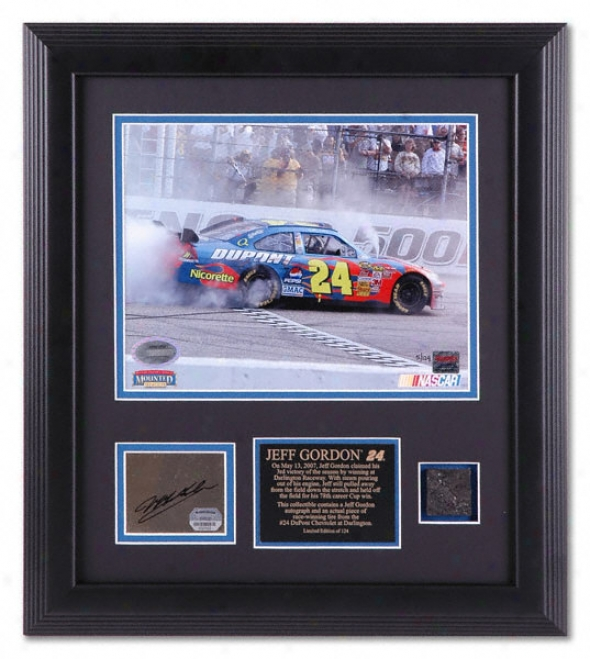 Jeff Gordon - Dodge Avenger 500 - Autographed 8x10 Framed Photo With Race-winning Tire Piece