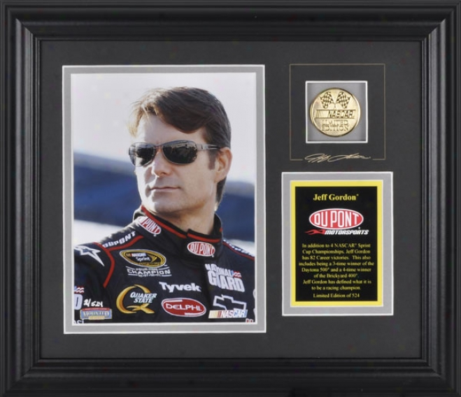 Jeff Gordon Framed 6x8 Photograph With Facsimile Signature, Engraved Plate And Gold Coin - Le Of 524