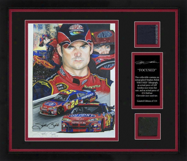 Jeff Gordon Framed 8x10 Lithograph With Suit, Tire And Painter Stamp