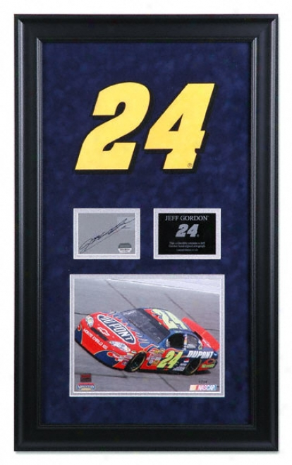 Jeff Gordon Framed 8x10 Pnotograph With Autographed Card And Suede Logo