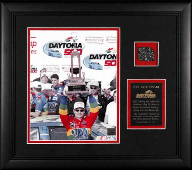 Jeff Gordon Framed 8x10 Photograph With Piece Of Daytona Track