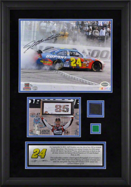 Jeff Gordon Framed Autographed 11x14 Photograph  Details: 2011 Advocare At Atlanta Motor Speedway, 85th Career Win, 78th Win Photo, By the side of Race Uqed Be fatigued And Gree