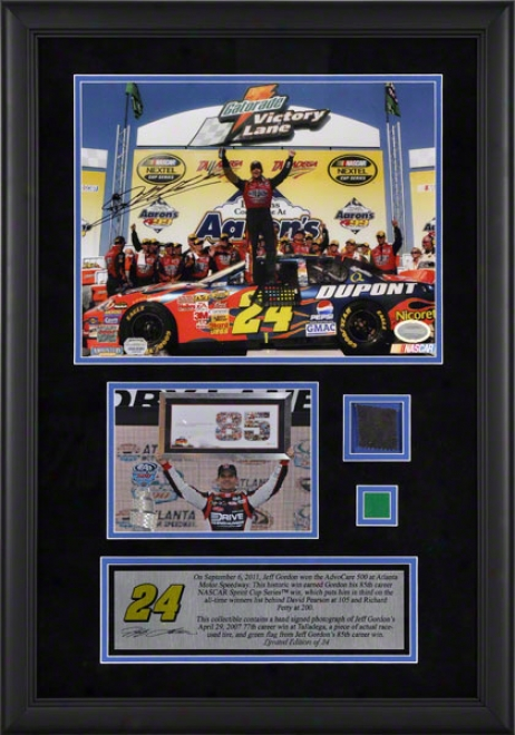 Jeff Gordon Framed Autographed 11x14 Photograph  Details: 2011 Advocare At Atlanta Motor Speedway, 85th Career Win, 77th Win Photo, With Race Used Tire And Gree