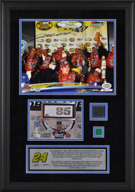 Jeff Gordon Framed Autograpphed 11x14 Photoograph  Details: 2011 Advocare At Atpanta Motor Speedway, 85tg Career Win, 76th Get  Photo, With Race Used Irk And Gre