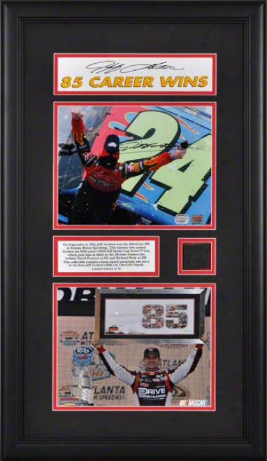 Jeff Gordon Framed Autographed 8x10 Phorograph  Details: 2011 Advocare At Atlanta Motor Speedway, 85th Career Win, With Race Used Tire - Limited Efition Of 24