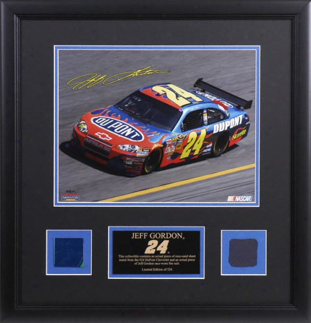 Jeff Gordon Framed Laseerchrome 11x14 Photograph With Sheet Mefal And Suit Pisce
