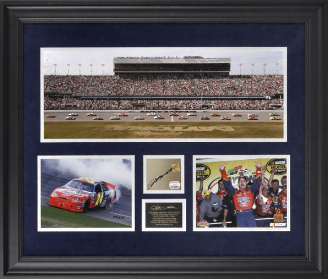 Jeff Gordon Framed Mini Panoramic With Ajtographed Plate And 2 Photographs