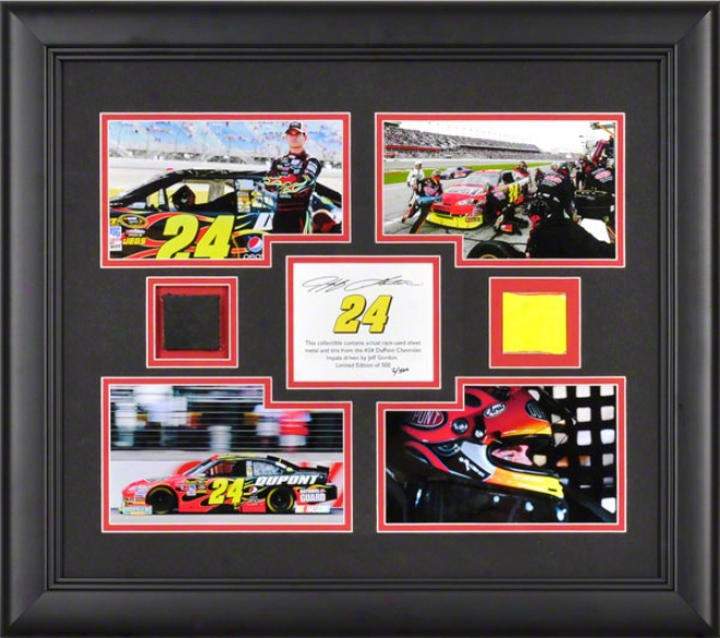 Jeff Gordon Framed Photographs  Details: 4 �4 x6 Photographs, 2010 Race Used Tire, Sheet Metal, Limited Edition Of 500