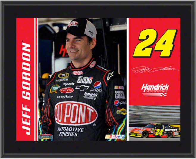 Jeff Gordon Plaque  Details: #24 Dupont Car, Hendrick Motrsports, Sublimated, 10x13, Nascar Plaque