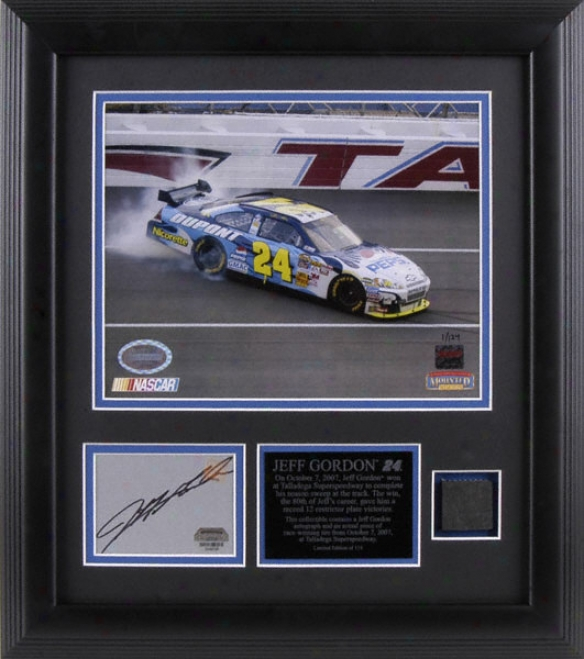 Jeff Gordon - Talladega Race Winner - Framed 8x10 Photograph With Autographed Playe And Race Used Tire Piece