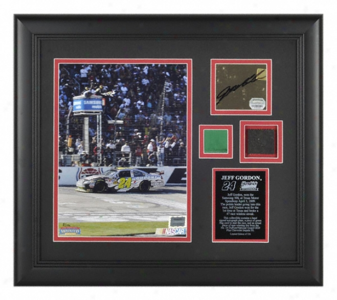 Jeff Gordonã'â 2009 Samsung 500 Texas Mootor Speedway Framed 8x10 Photograph With Race Winning Tire, Green Flag, And Autograph Plate