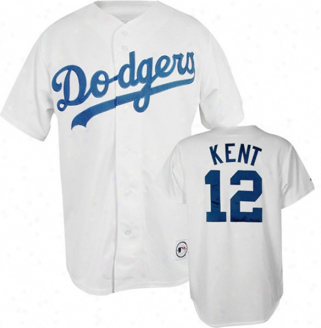 Jeff Kent White Majestic Mlb Home Replica Los Angeles Dodgers Jersey