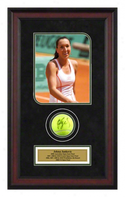 Jelena Jankovic 2007 French Open Framed Autographed Tennis Balo With Photo