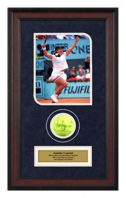 Jennifer Capriafi 2001 French Open Framed Autographed Tennis Ball Through  Photo