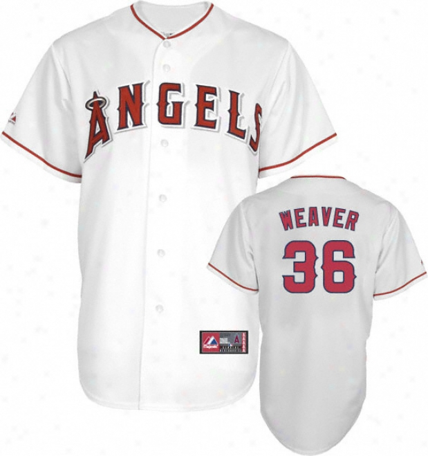 Jered Weaver Jersey: Adult aMjestic Home White Replica #36 Los Angeles Angels Of Anaheim Jersey