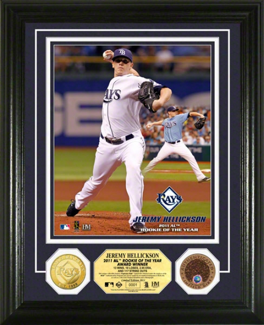 Jeremy Helickson Tampa Bqy Rays 2011 A.l. Rookie Of The Year Photo Mint