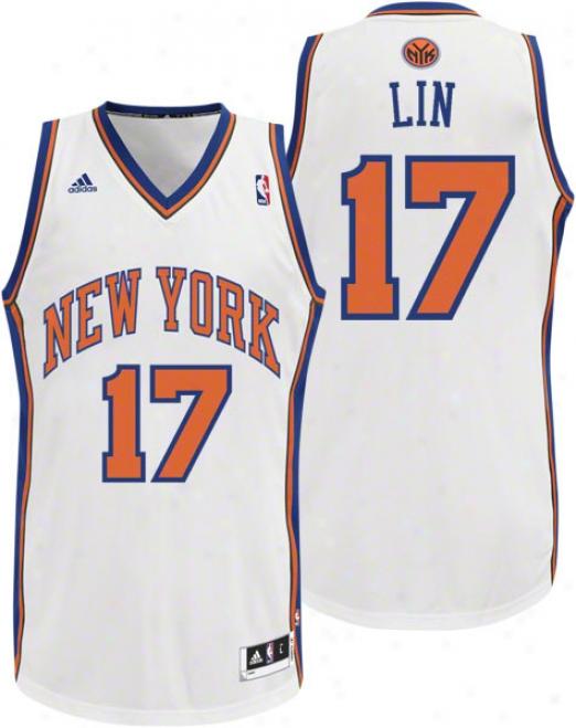 Jeremy Lin Jersey: Adidas Revolution 30 White Replica #17 New York Kjicks Jersey