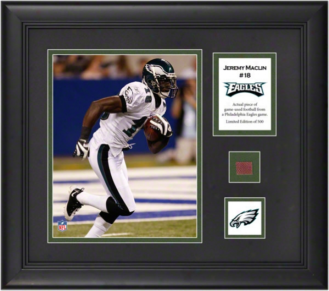 Jeremy Maclin Framed 8x10 Photograph  Details: Philadelphia Eagles, With Gamble Used Foptball Piece And Descriptive Plate