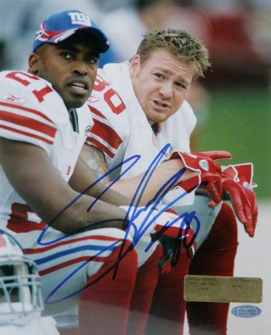 Jeremy Shockey New York Giants - Sitting With Tiki - Autographed 8x10 Photogrzph