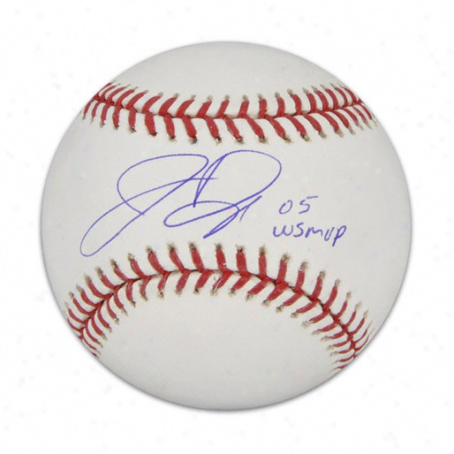 Jermaine Dye Autographed Baseball  Details: 2005 World Succession Mvp Inscription