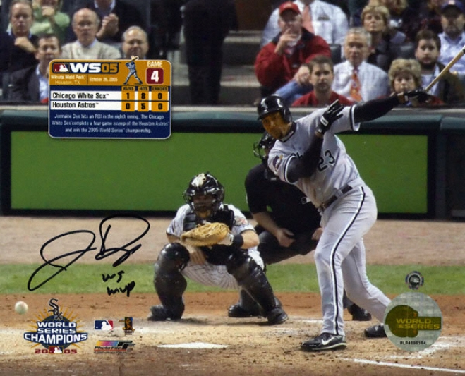 Jermaine Dye Chicago White Sox 8x10 Autographed Photograph With ''ws Mvp'' Inscription