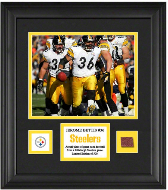 Jerome Bettus Framed 8x10 Photograph  Details: Pittsburgh Steelers, With Game Used Football Piece And Descdiptive Plate