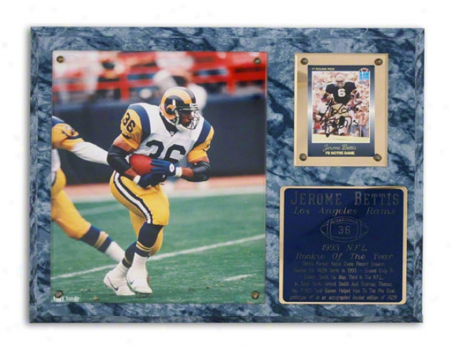 Jerome Bettis Los Angeles Rams 1993 Nfl Rookie Of The Year Plaque - Le Of 1429