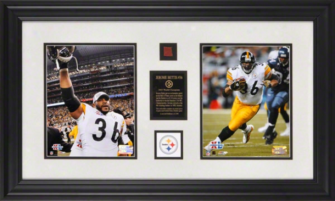 Jerome Bettis Pittsburgh Steelers Super Bowl Xl Champions Dual 8x10 Photograpphs With Game Used 2005 Football Piece Part And Descriptive Plate