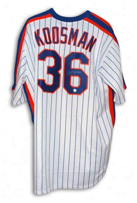 Jerry Kooaman New York Mets Autographde White Pinstripe Majestic Throwback Jersey