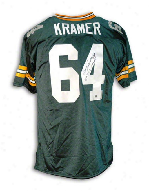 Jerry Kramer Autographed Green Bay Packers Throwback Jersey Inscribed &quot5x Nfl Champs&quot