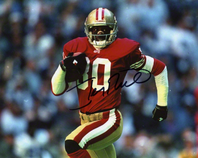 Jerry Rice Autographec 8x10 Photograph  Details: San Francisco 49ers