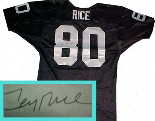 Jerry Rice Autographed Black Custom Style Jersey