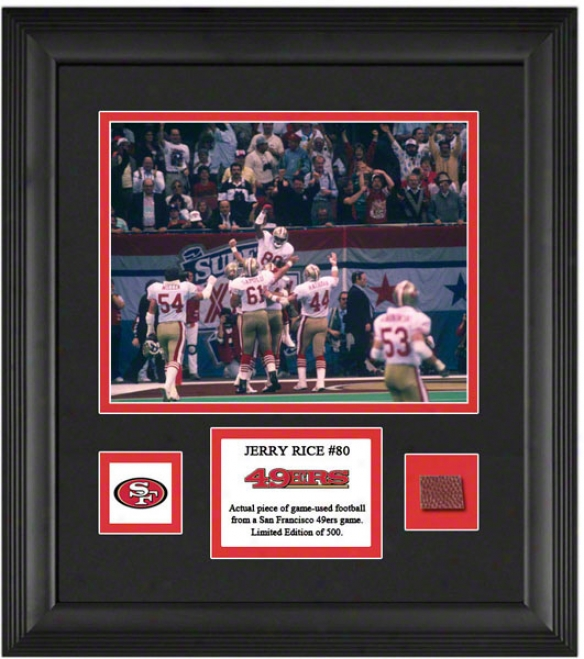 Jerry Rice Framed 8x10 Photograph  Details: San Francisco 49ers, With Game Used Football Piece And Descrptive Plate